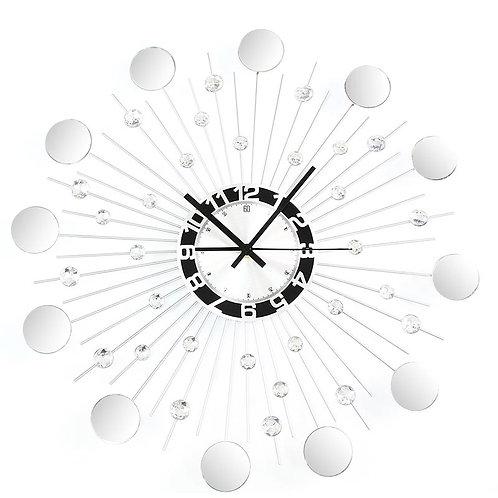 Nowoczesny srebrny zegar ścienny  z kryształkami  2