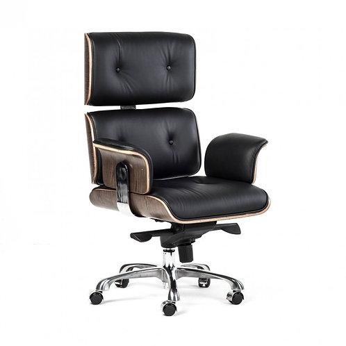 Fotel biurowy VIP czarna skóra,orzechowy