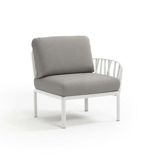 Fotel Komodo końcowy biały /szary