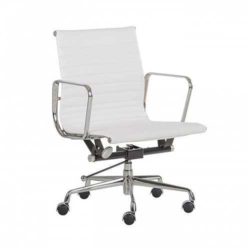 Fotel biurowy ze skóry  biały Artur  222