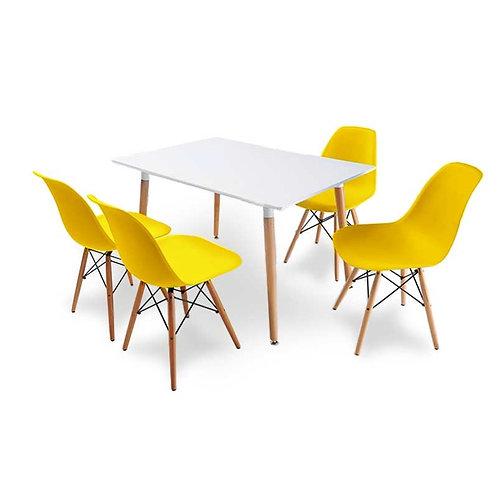 Zestaw mebli Charles - 4 krzesła i stół 120x80