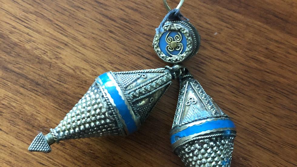 Teal Tribal drop Earrings