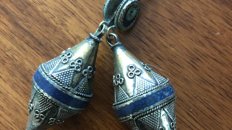 Dark Blue Tribal drop Earrings