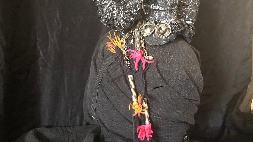 Decorated Medium Silver Ram Horns