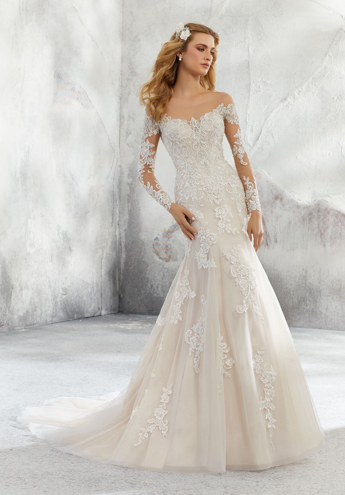 8db8fb6d9115 Leighton This Soft A-Line Bridal Gown Features an Intricately Beaded and Embroidered  Bodice with a Delicate Off the Shoulder Illusion Neckline. The Soft Net ...