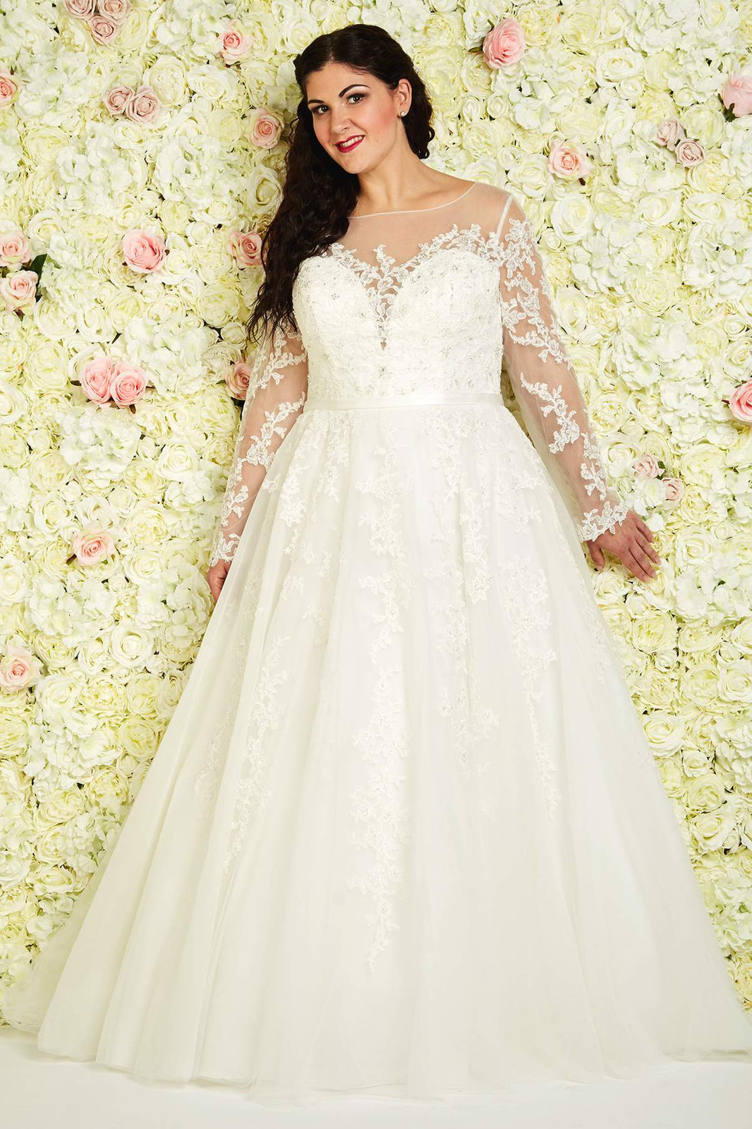 a2e70f9dc9 This gorgeous full A-line style is wonderfully versatile, as it comes with  the option to add full-length lace sleeves to the illusion neckline with  lace ...