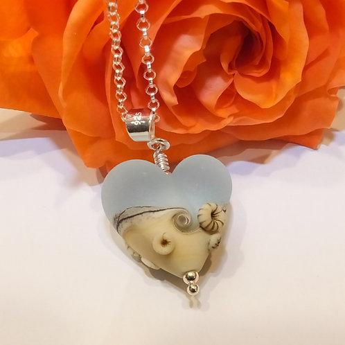Be Mine! Aqua Beachy Heart Pendant