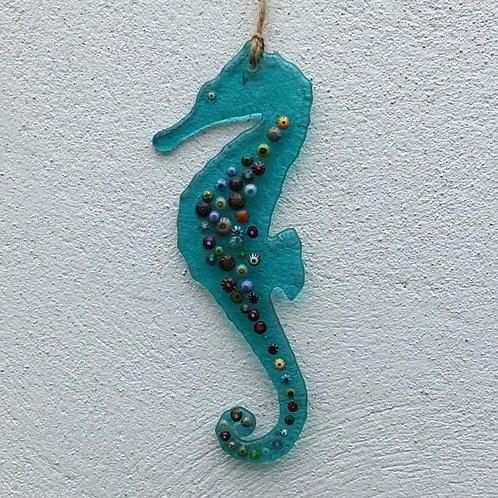 Teal Seahorse Suncatcher