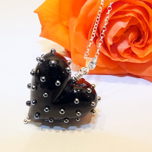 Be Mine! Large Black Heart Pendant