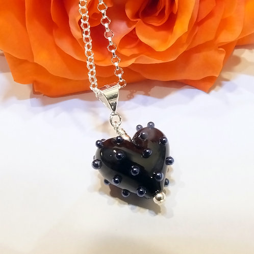 Be Mine! Tiny Black Heart Pendant