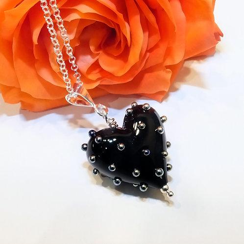 Be Mine! Small Black Heart Pendant