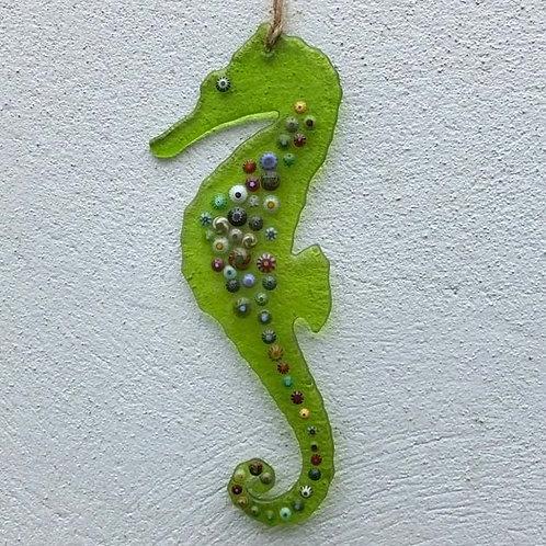 Lime Green Seahorse Suncatcher