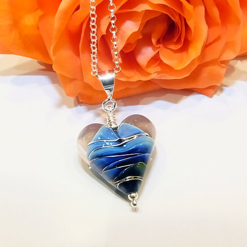 Be Mine! Deep Blue Sea Heart Pendant