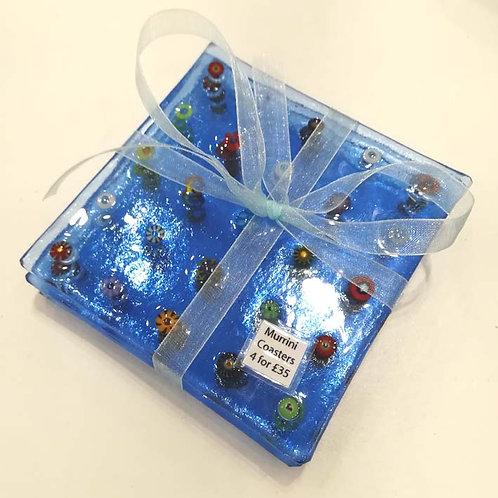 Set of Four Blue Coasters