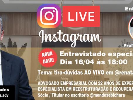 LIVE dia 16/04/2020 - 18:00 - Tema: Tira-dúvidas