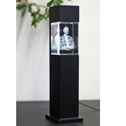 3D Glasfoto mit Leuchtstele schwarz M hoch
