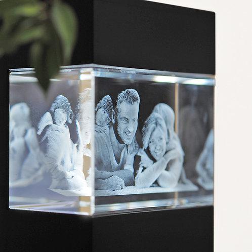 3D Glasfoto mit Leuchtstele schwarz L quer