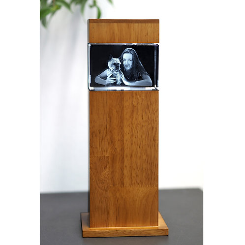 3D Glasfoto mit Leuchtstele Holz M quer