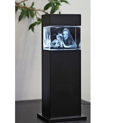 3D Glasfoto mit Leuchtstele schwarz M quer