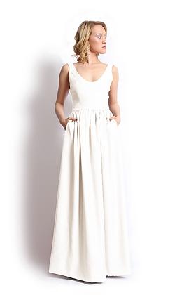 dk1406B scoop neck reversible bridal gown