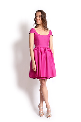 dk1405P cap slv banded reversible cocktail dress