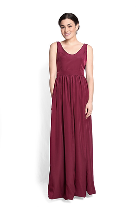 dk1406C sleeveless scoop neck reversible gown