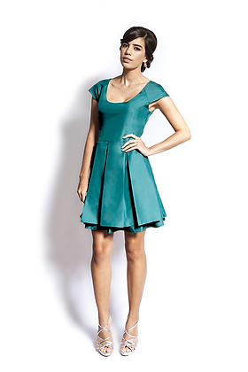 dk1501G cap sleeve pleat reversible cocktail dress