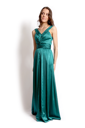 dk1210G ruched front reversible gown