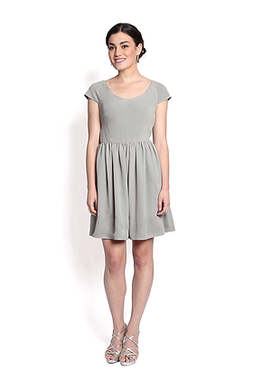 dk1602 cap slv gathered reversible cocktail dress