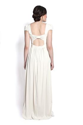 dk1503B cap slv bow back reversible bridal gown