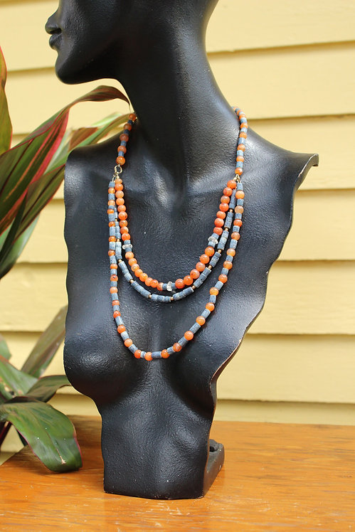 Volcanic Rock and Glass Beaded Necklace