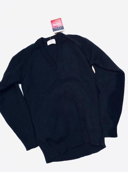 Black v-neck wool Jumper Charles Kirk