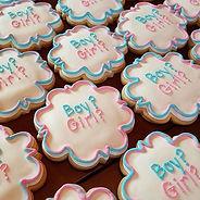 Gender reveal cookies with hidden pink d