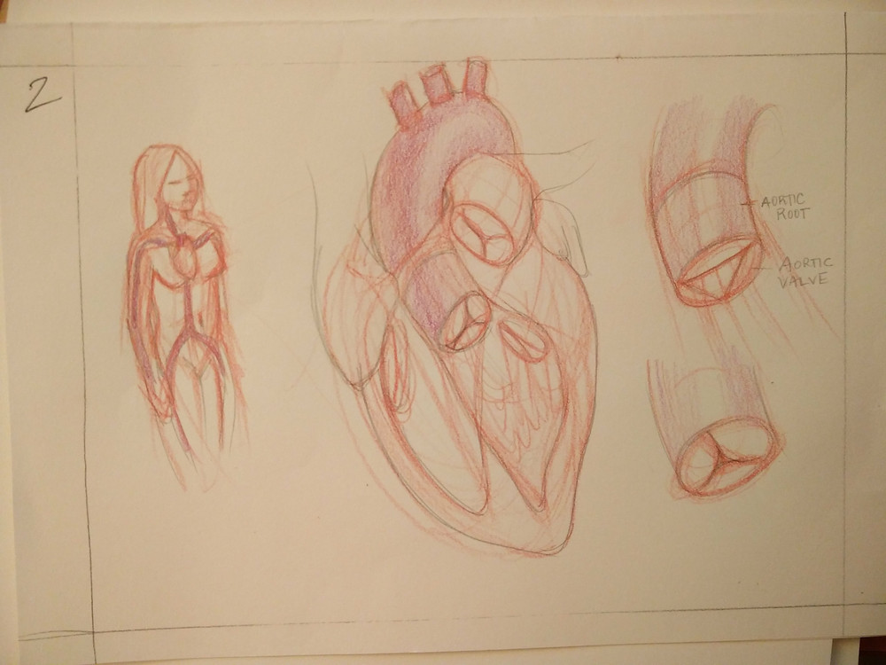 Preliminary composition sketch before really understanding the anatomy
