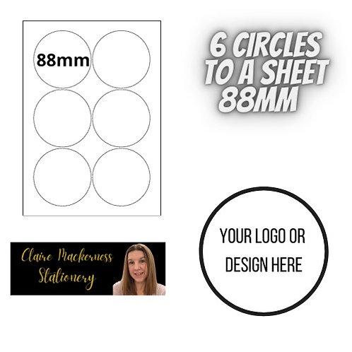 Circular Stickers 6 to a Sheet