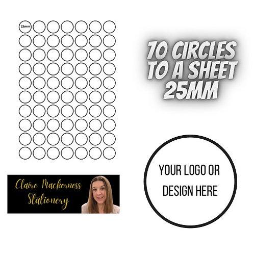 Circular Stickers 70 to a Sheet