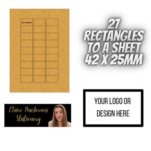 Rectangular Stickers 27 to a Sheet Brown Kraft