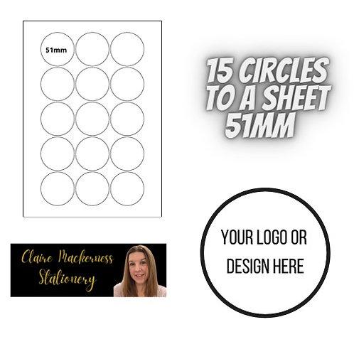 Circular Stickers 15 to a Sheet