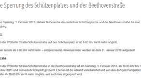 Teilweise Sperrung des Schützenplatzes und der Beethovenstraße