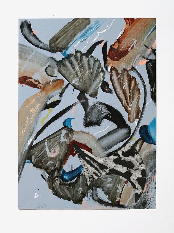 Fan Palm, oil, acrylic pen, collage on p