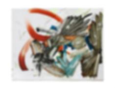 Buzzard, oil, acrylic pen, collage on pa