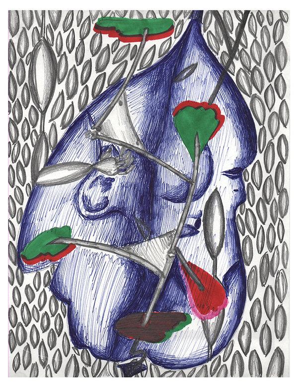 Doo Wop. 23 x 29.5cm Graphite, pen, cray