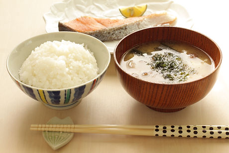 Japanese Breakfast time, rice, miso soup