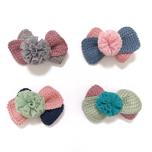 Hand-Knitted Woollen Bow Clip