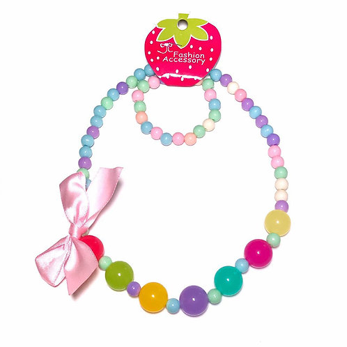 Reversible Bow Beaded Necklace Set