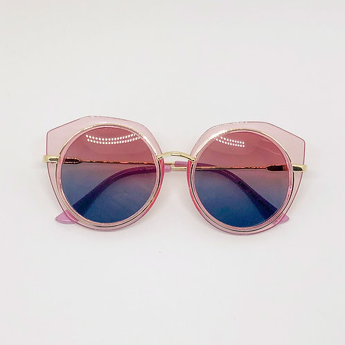 Pink retro look Kids sunglasses with cutout edge Polarised&UV protection
