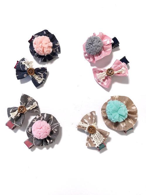 Button Bow & Pom Pom Clip Set