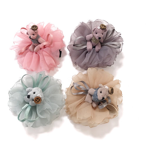 Teddy Bear Flower Clip