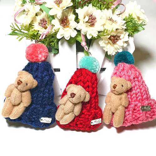 Hand-knitted Woolen Hat & Teddy Bear Necklace