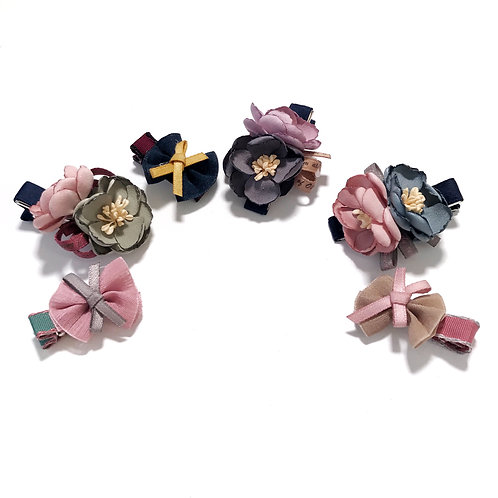 Mini Bow and Rose Clip Set